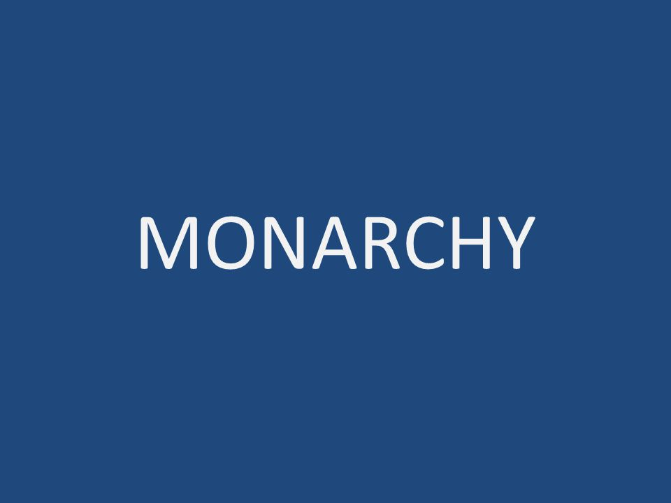 MONARCHY: power in the hands of one person; usually a king Etymology: monos = single and arkhein = rule *Visual: Create a quick sketch of a visual clue for monarchy EQ: How did democracy develop in Ancient Greece?