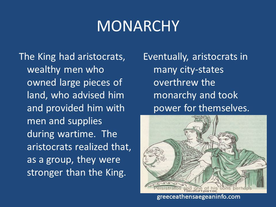 TYRANNY Also called a dictatorship Tyrant has all of the power but is not the lawful king.