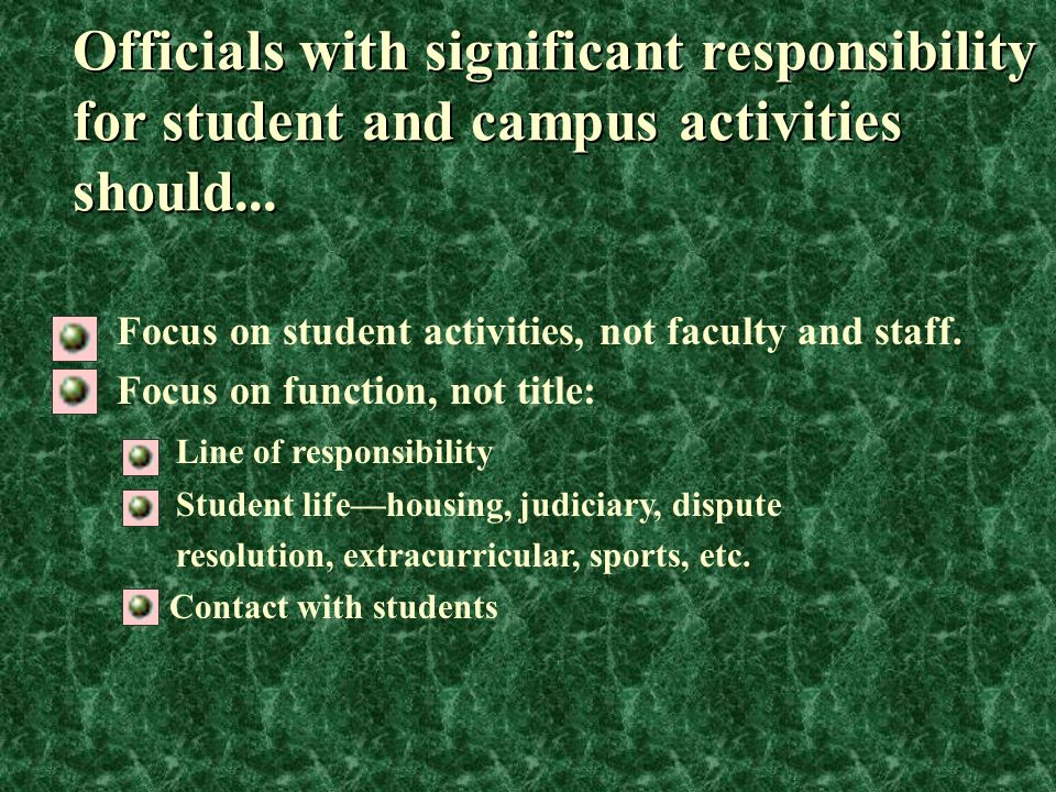 Focus on student activities, not faculty and staff. Focus on function, not title: Line of responsibility Student life—housing, judiciary, dispute reso