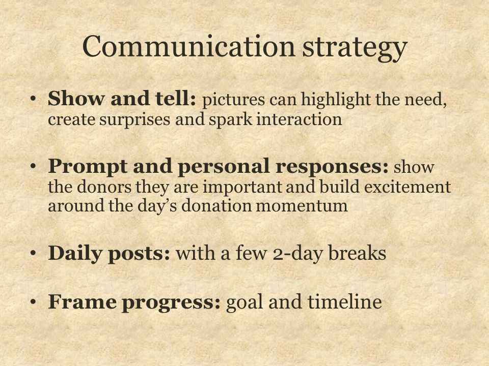 Communication strategy Show and tell: pictures can highlight the need, create surprises and spark interaction Prompt and personal responses: show the
