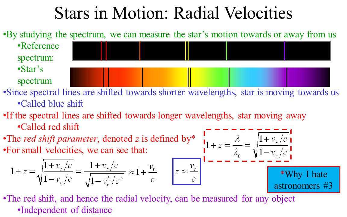 Stars in Motion: Radial Velocities By studying the spectrum, we can measure the star's motion towards or away from us Reference spectrum: Star's spectrum Since spectral lines are shifted towards shorter wavelengths, star is moving towards us Called blue shift If the spectral lines are shifted towards longer wavelengths, star moving away Called red shift The red shift parameter, denoted z is defined by* For small velocities, we can see that: The red shift, and hence the radial velocity, can be measured for any object Independent of distance *Why I hate astronomers #3