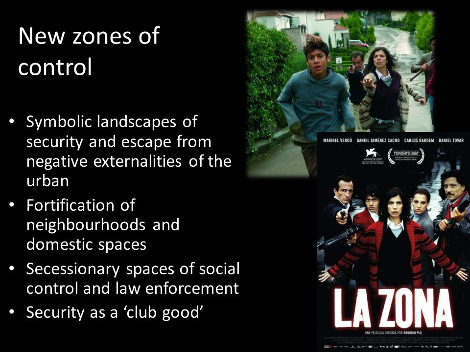 New zones of control Symbolic landscapes of security and escape from negative externalities of the urban Fortification of neighbourhoods and domestic spaces Secessionary spaces of social control and law enforcement Security as a 'club good'