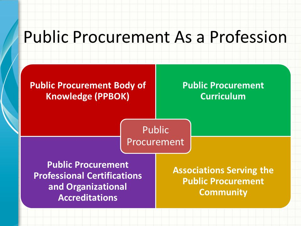 Public Procurement As a Profession Public Procurement Body of Knowledge (PPBOK) Public Procurement Curriculum Public Procurement Professional Certifications and Organizational Accreditations Associations Serving the Public Procurement Community Public Procurement