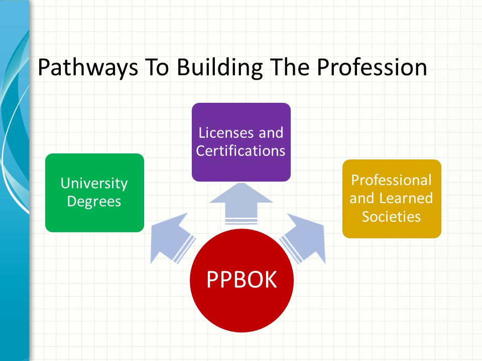 Pathways To Building The Profession PPBOK University Degrees Licenses and Certifications Professional and Learned Societies