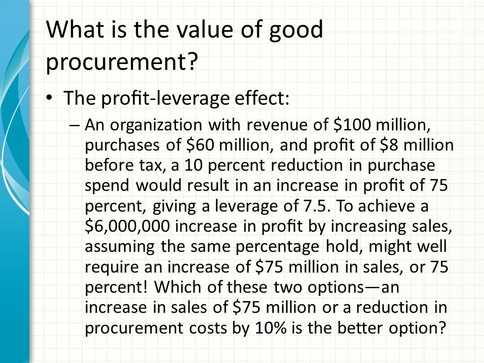 What is the value of good procurement.