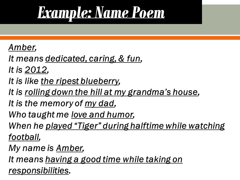 Complete the character name poem and create a name poem using your own name.