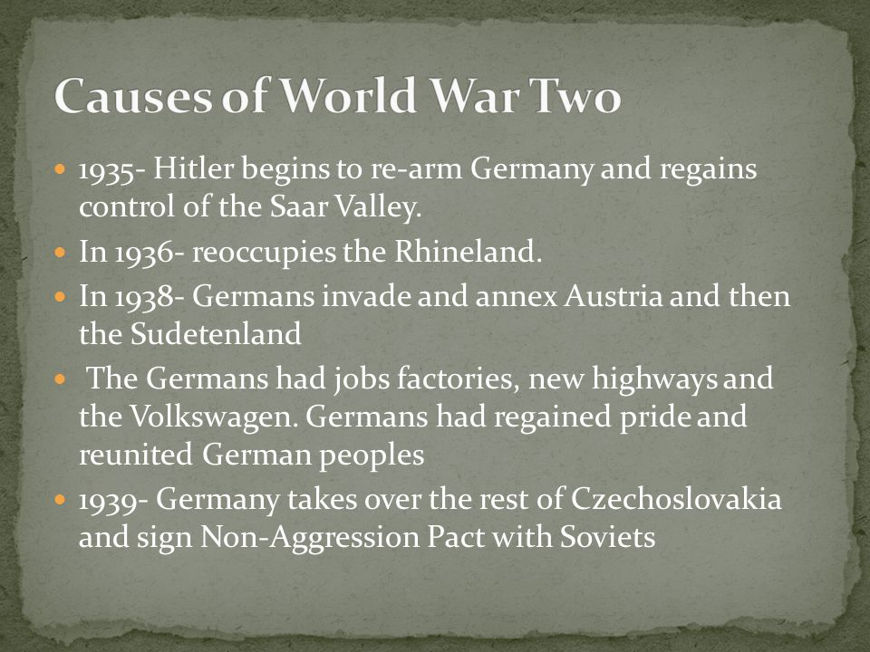 1935- Hitler begins to re-arm Germany and regains control of the Saar Valley. In 1936- reoccupies the Rhineland. In 1938- Germans invade and annex Aus
