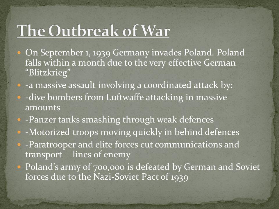 On September 1, 1939 Germany invades Poland.