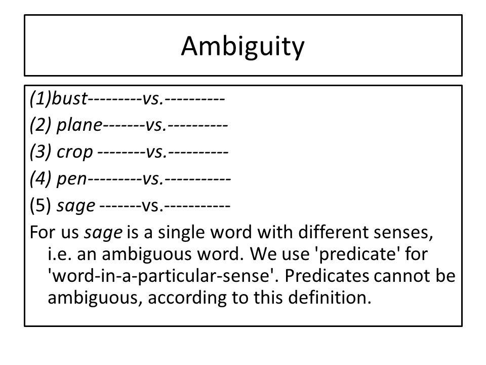 Ambiguity (1)bust---------vs.---------- (2) plane-------vs.---------- (3) crop --------vs.---------- (4) pen---------vs.----------- (5) sage -------vs