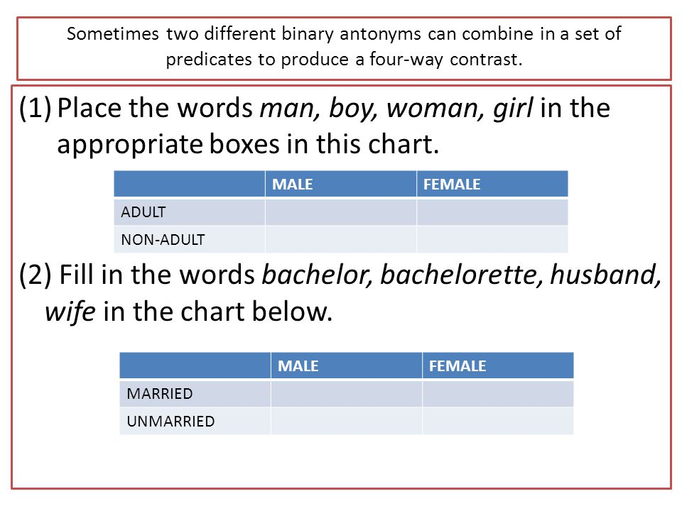 Sometimes two different binary antonyms can combine in a set of predicates to produce a four-way contrast. (1)Place the words man, boy, woman, girl in