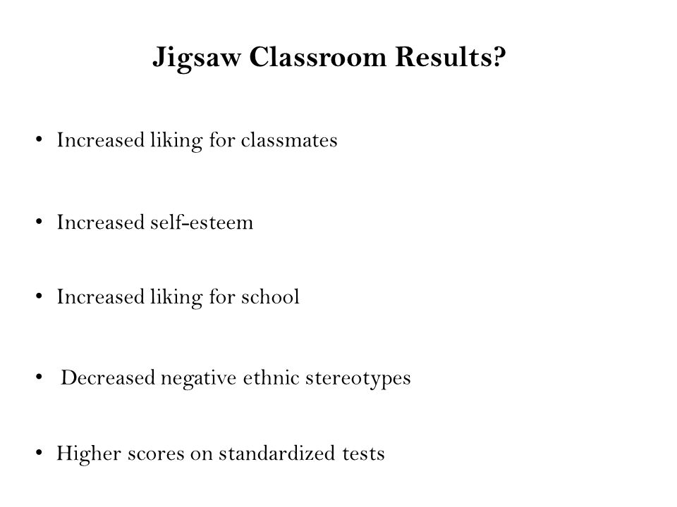 Jigsaw Classroom Results.