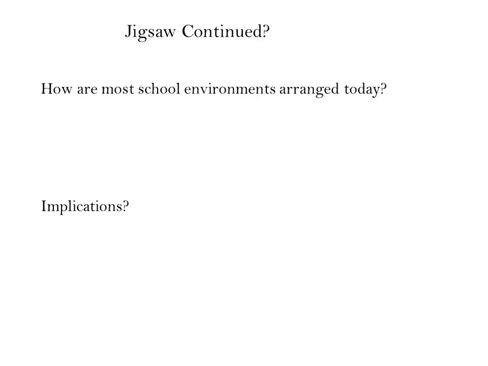 How are most school environments arranged today Implications Jigsaw Continued