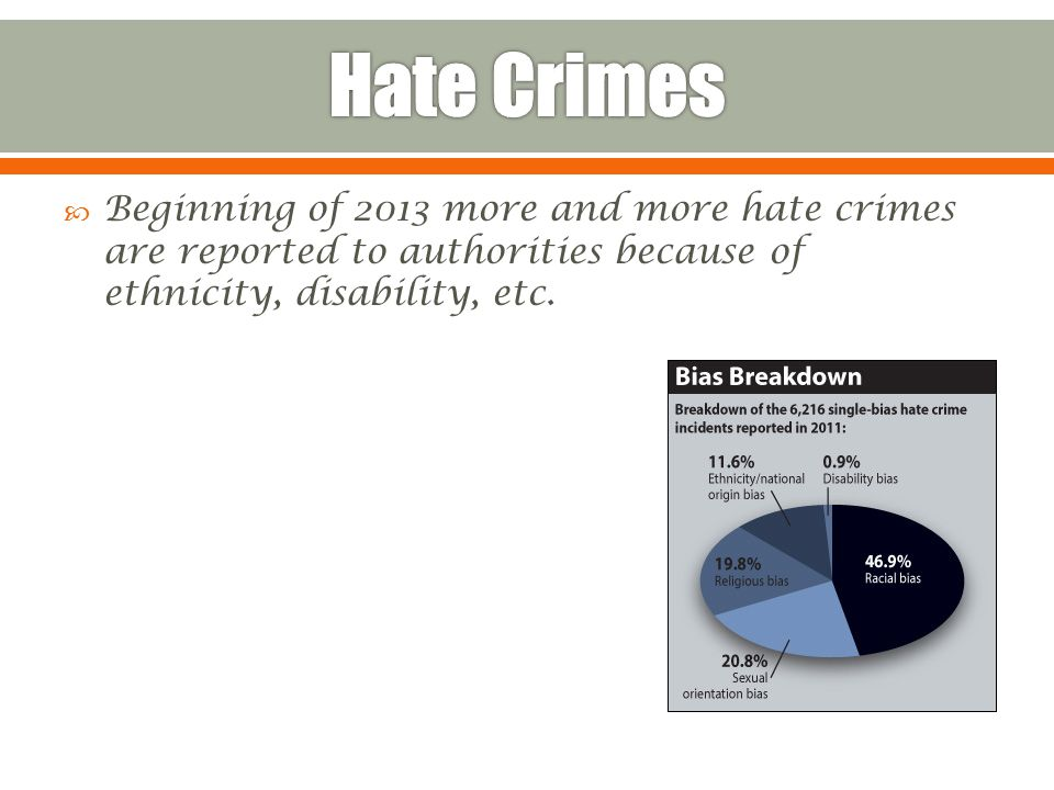  Beginning of 2013 more and more hate crimes are reported to authorities because of ethnicity, disability, etc.