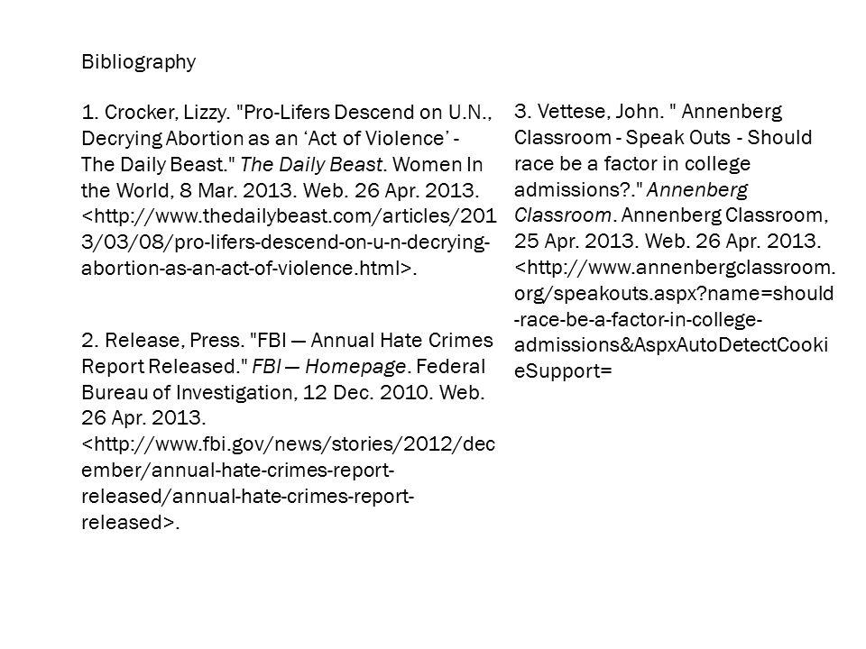Bibliography 1. Crocker, Lizzy.