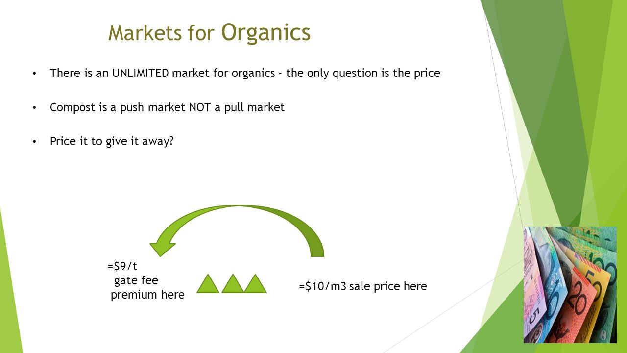 There is an UNLIMITED market for organics - the only question is the price Compost is a push market NOT a pull market Price it to give it away.