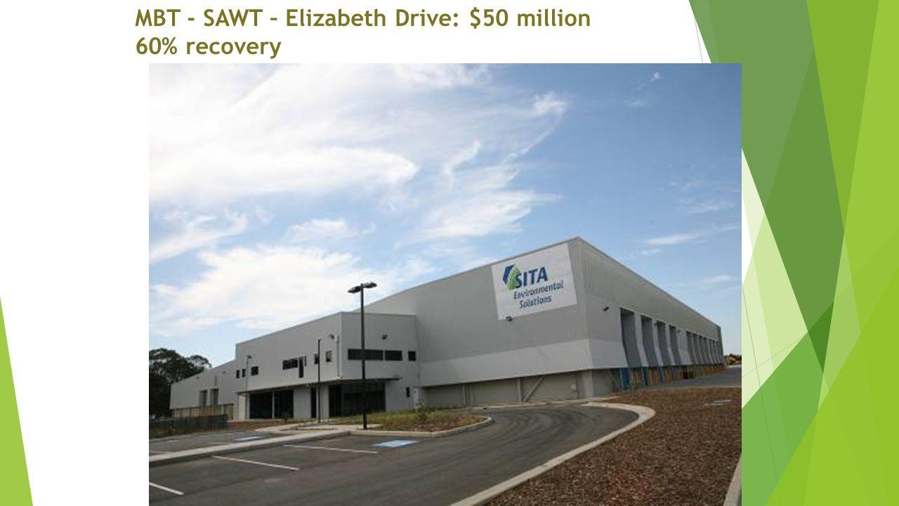 MBT - SAWT – Elizabeth Drive: $50 million 60% recovery
