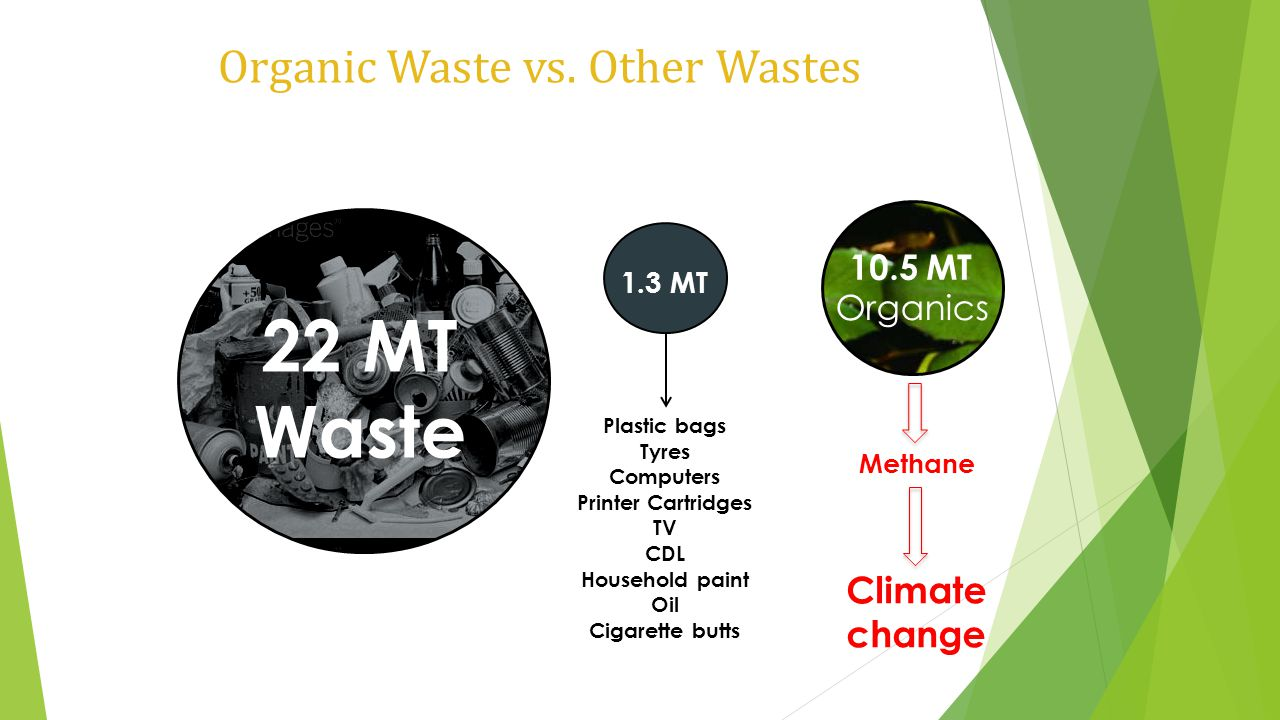 Organic Waste vs. Other Wastes 22 MT Waste 1.3 MT Plastic bags Tyres Computers Printer Cartridges TV CDL Household paint Oil Cigarette butts 10.5 MT O