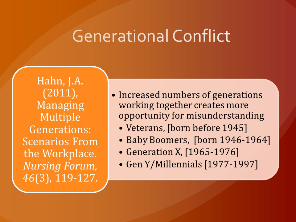 Increased numbers of generations working together creates more opportunity for misunderstanding Veterans, [born before 1945] Baby Boomers, [born 1946-