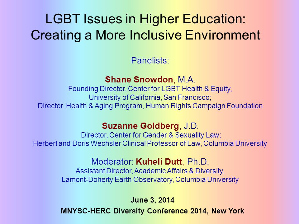 LGBT Issues in Higher Education: Creating a More Inclusive Environment June 3, 2014 MNYSC-HERC Diversity Conference 2014, New York Panelists: Shane Sn