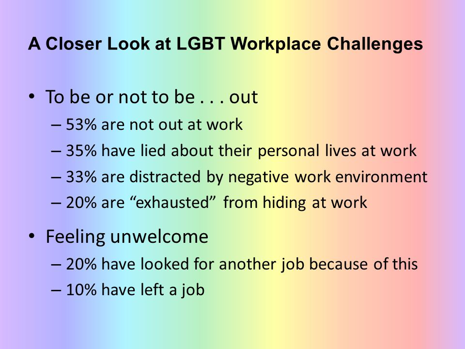 A Closer Look at LGBT Workplace Challenges To be or not to be... out – 53% are not out at work – 35% have lied about their personal lives at work – 33