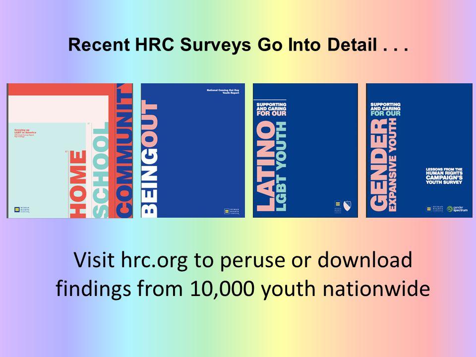 Recent HRC Surveys Go Into Detail...