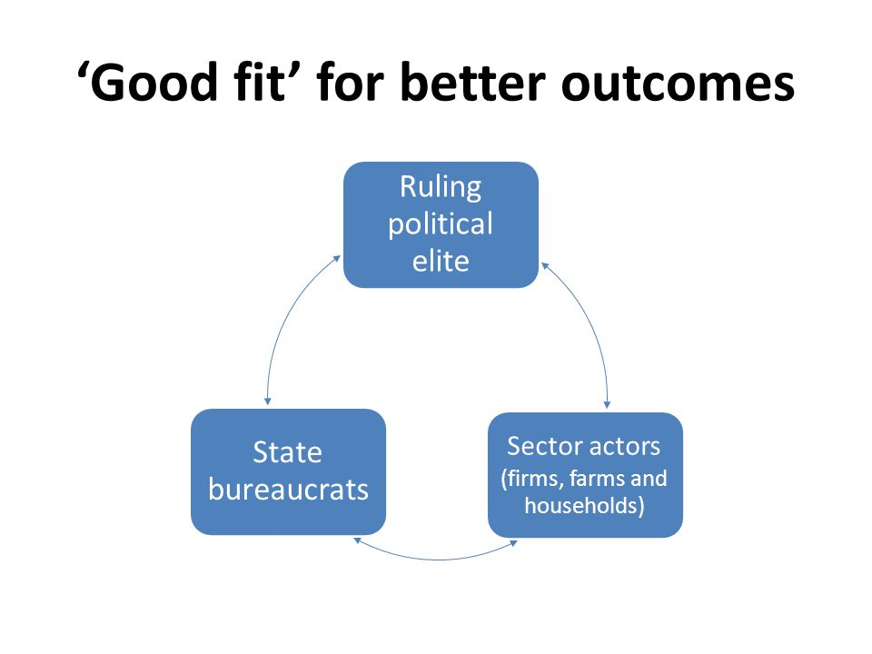 'Good fit' for better outcomes Ruling political elite Sector actors (firms, farms and households) State bureaucrats