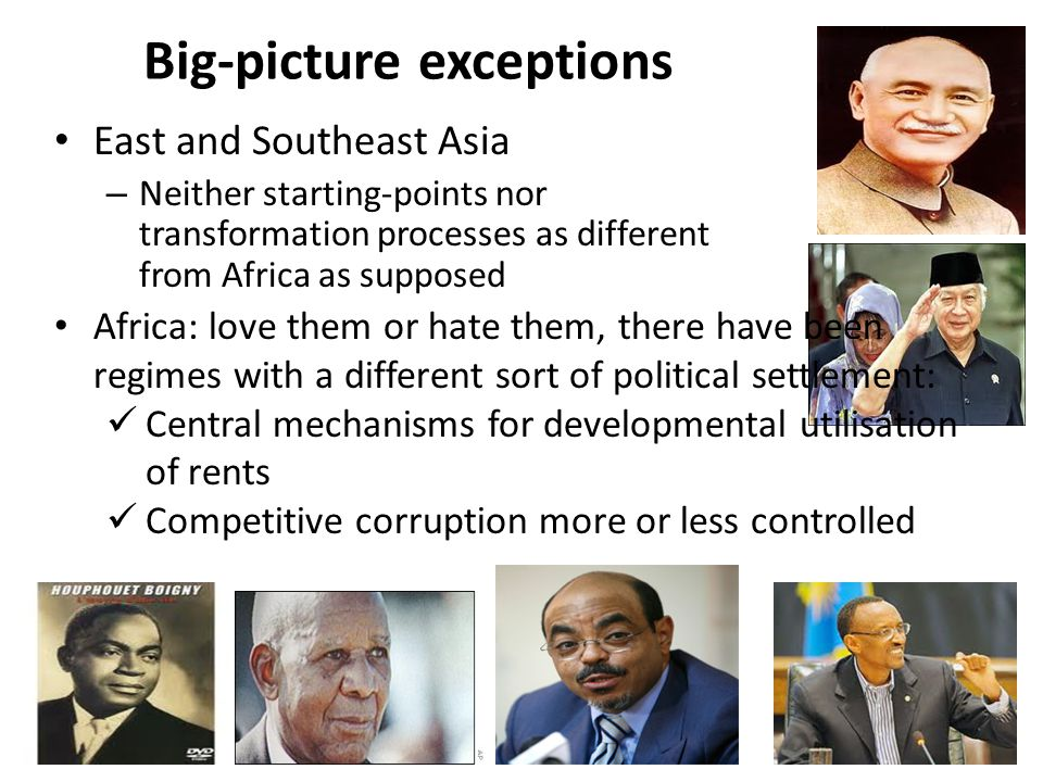 Big-picture exceptions East and Southeast Asia – Neither starting-points nor transformation processes as different from Africa as supposed Africa: lov