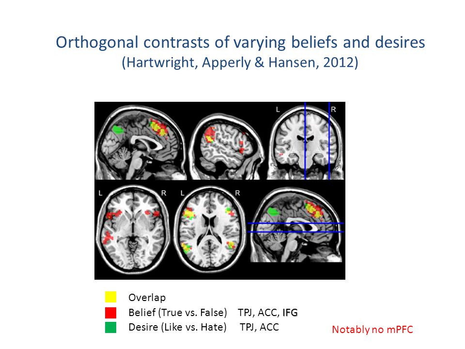 IFG Belief (True vs. False) TPJ, ACC, IFG Desire (Like vs. Hate) TPJ, ACC Overlap Orthogonal contrasts of varying beliefs and desires (Hartwright, App