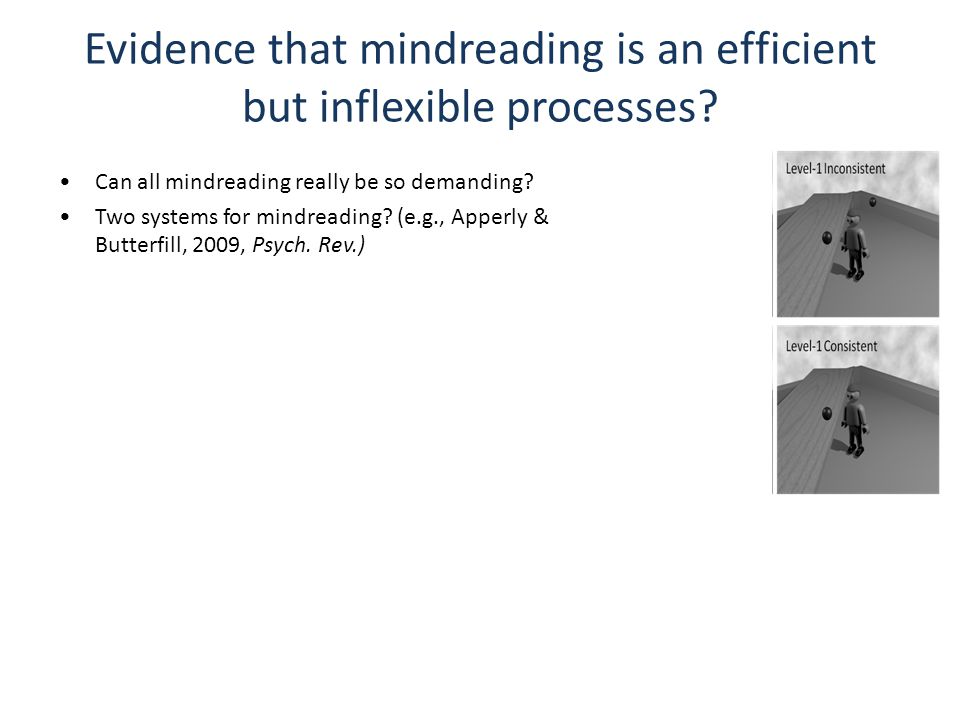 Evidence that mindreading is an efficient but inflexible processes.