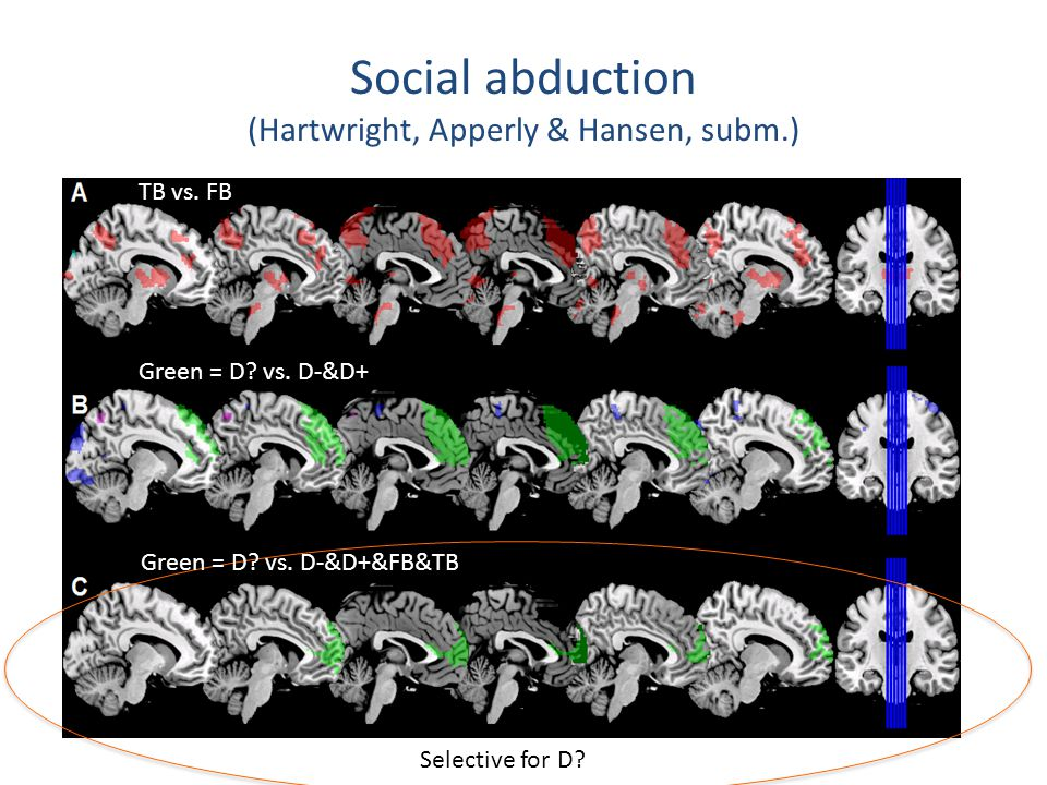 Social abduction (Hartwright, Apperly & Hansen, subm.) Selective for D.