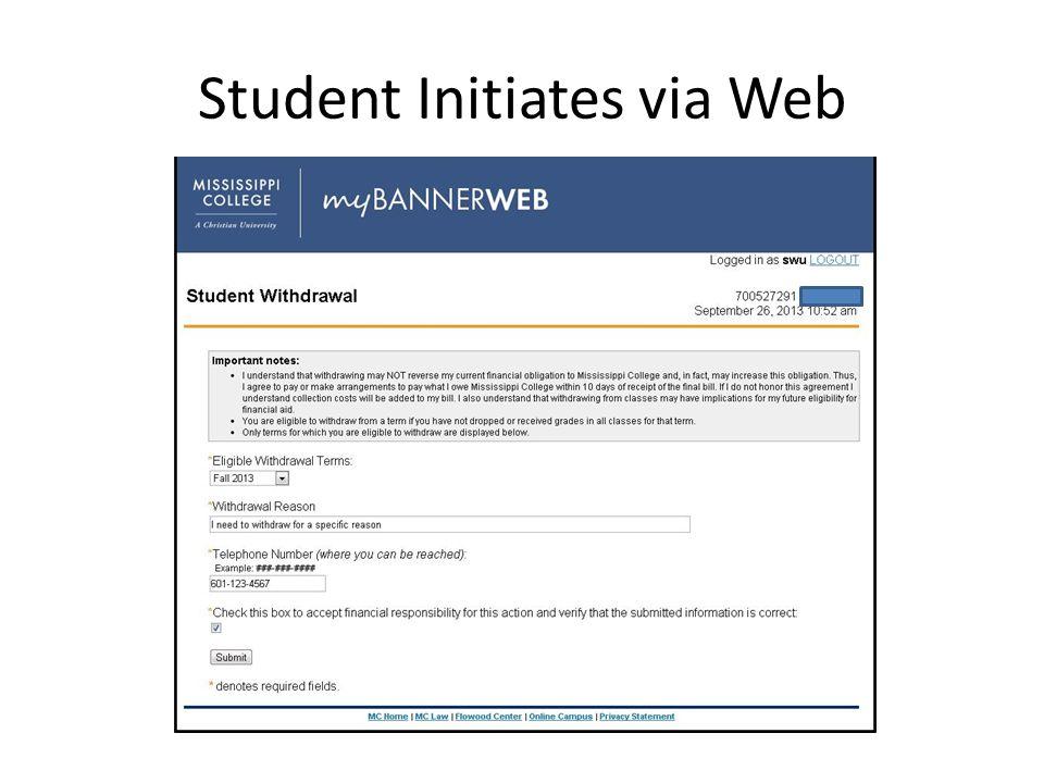 Student Initiates via Web