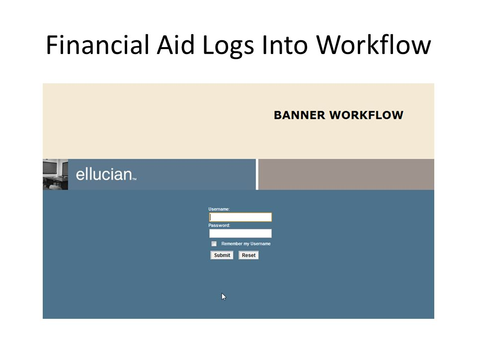 Financial Aid Logs Into Workflow