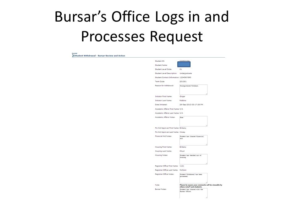 Bursar's Office Logs in and Processes Request