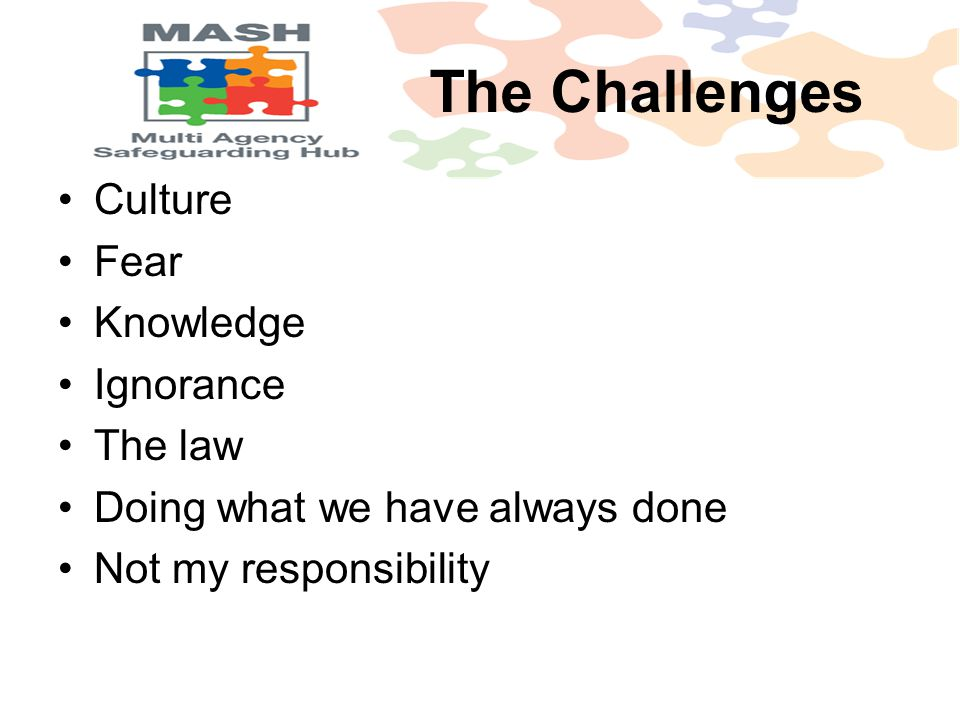 Culture Fear Knowledge Ignorance The law Doing what we have always done Not my responsibility The Challenges