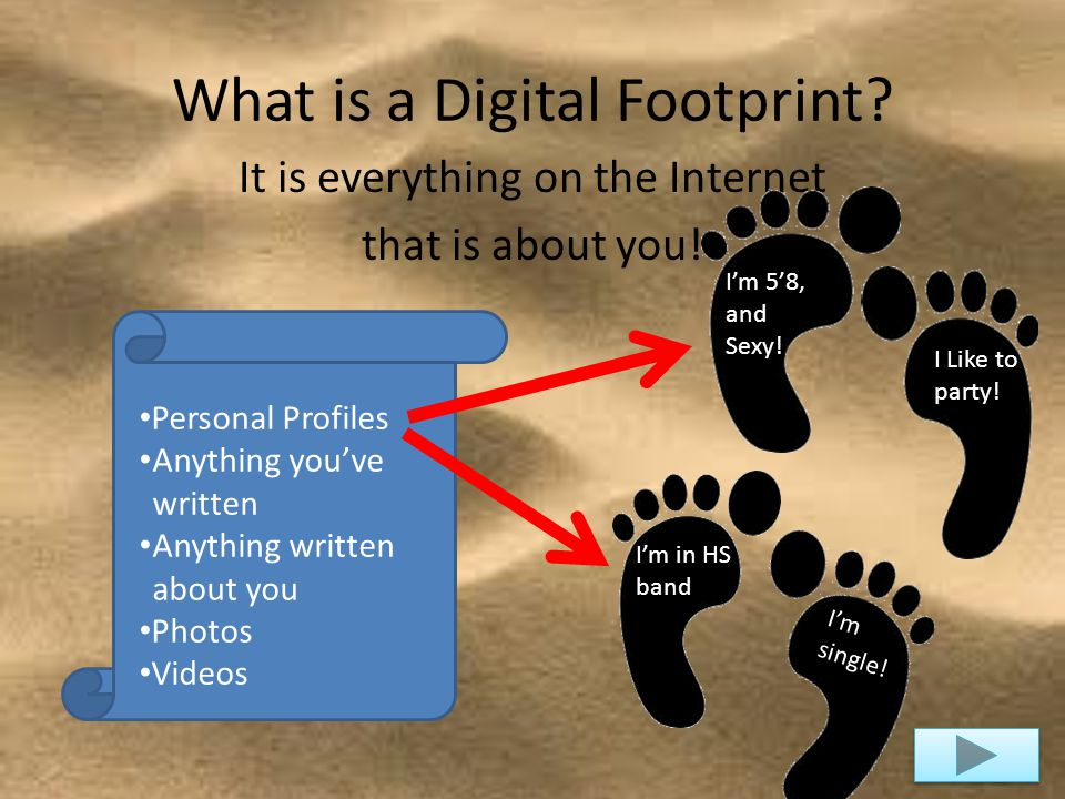 What is a Digital Footprint. It is everything on the Internet that is about you.