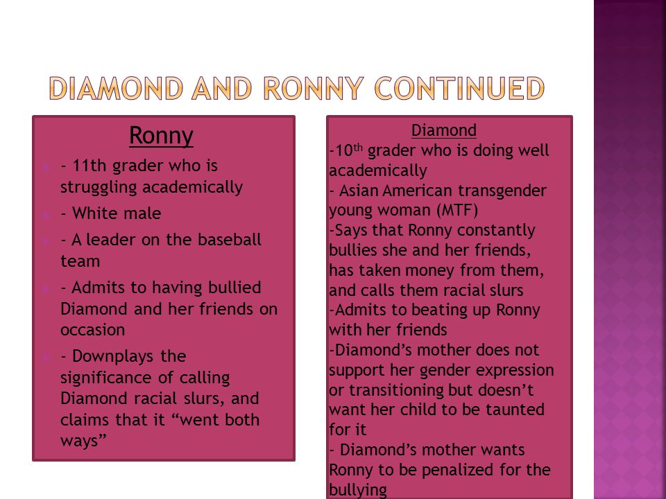 Ronny  - 11th grader who is struggling academically  - White male  - A leader on the baseball team  - Admits to having bullied Diamond and her fri