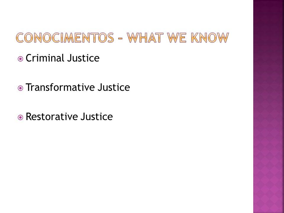  Criminal Justice  Transformative Justice  Restorative Justice