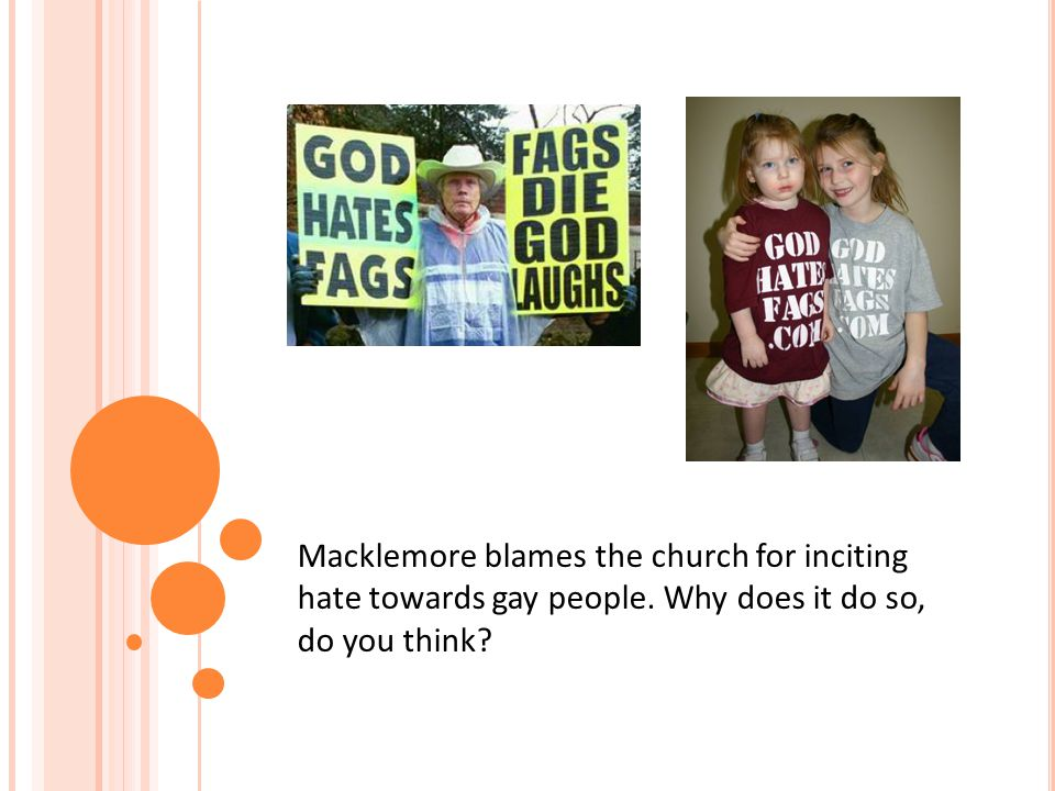 Macklemore blames the church for inciting hate towards gay people. Why does it do so, do you think?
