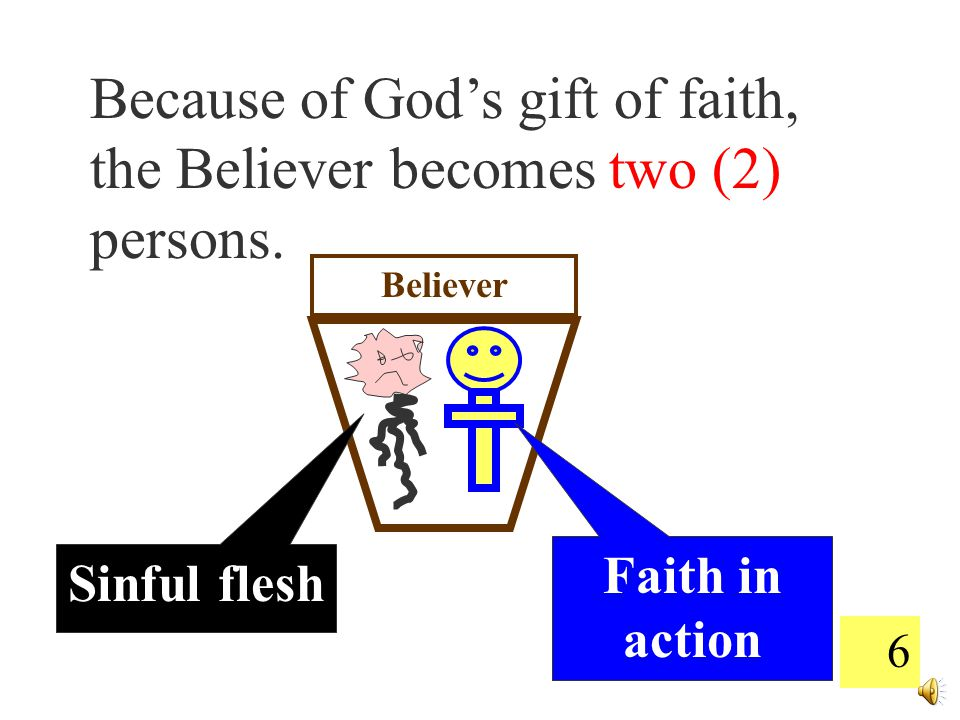 6 Because of God's gift of faith, the Believer becomes two (2) persons.