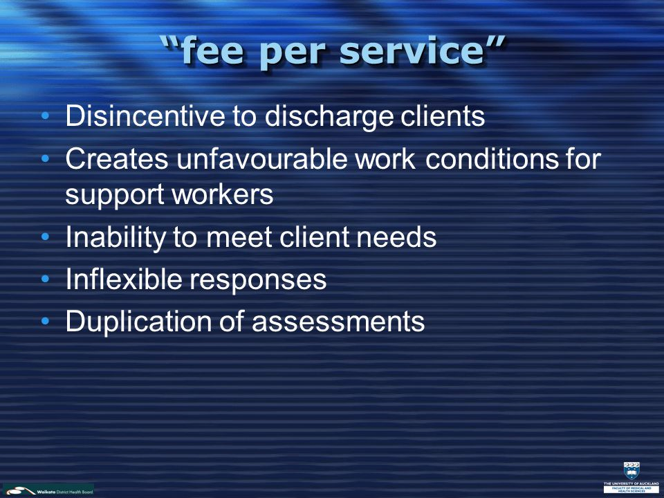fee per service Disincentive to discharge clients Creates unfavourable work conditions for support workers Inability to meet client needs Inflexible responses Duplication of assessments