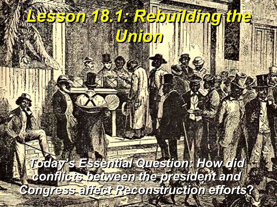 Vocabulary Reconstruction – process the federal government used to readmit the Confederate states to the Union pardon – legal forgiveness for a crime carpetbagger – Northerner who supported Reconstruction as an opportunity for personal gain scalawag – Southerner who supported Radical Reconstruction