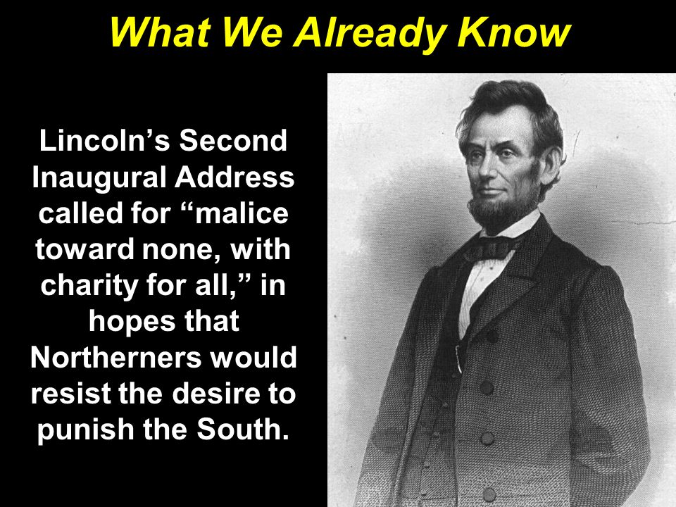 What We Already Know Lincoln's assassination ended all hope of an easy return of the seceded states to the Union.