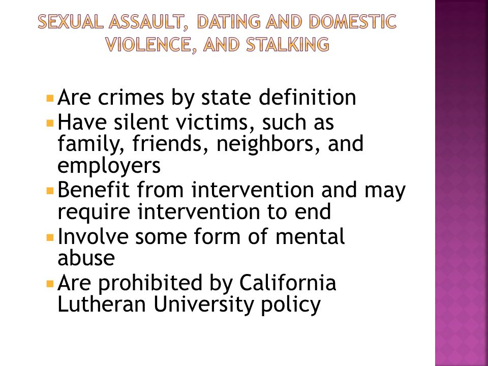  Campus Security Authorities must report based on location  Title IX mandatory reporters must report based on discrimination  Both must report:  Rape  Sexual offenses other than rape  Hate Crimes (if under Title IX)  Stalking (if under Title IX)  Dating Violence  Domestic Violence