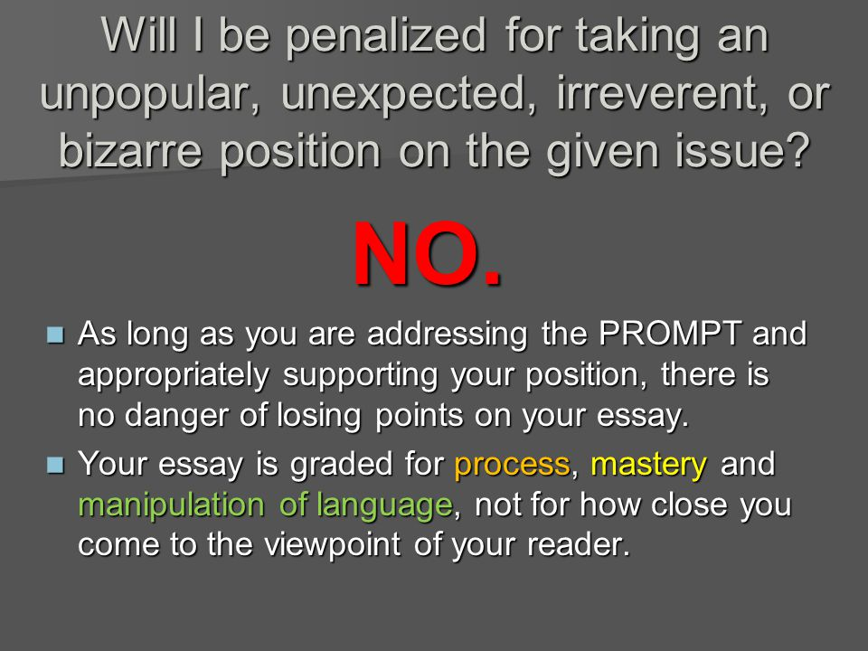 Will I be penalized for taking an unpopular, unexpected, irreverent, or bizarre position on the given issue.