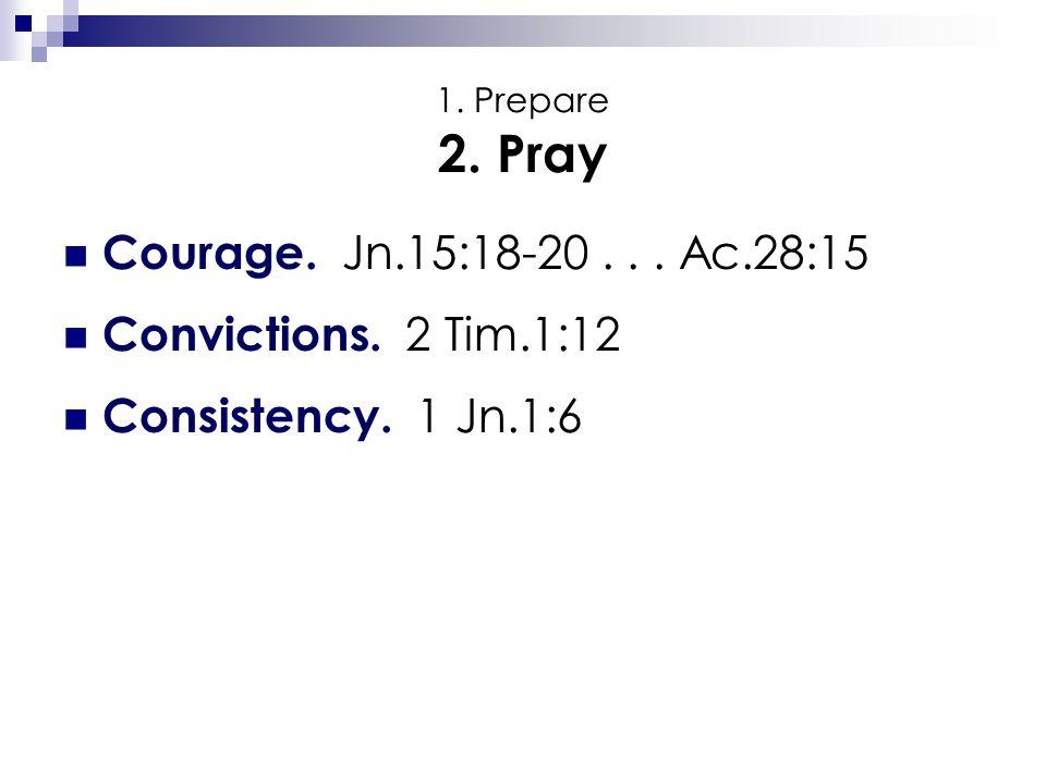 1. Prepare 2. Pray Courage. Jn.15:18-20... Ac.28:15 Convictions. 2 Tim.1:12 Consistency. 1 Jn.1:6