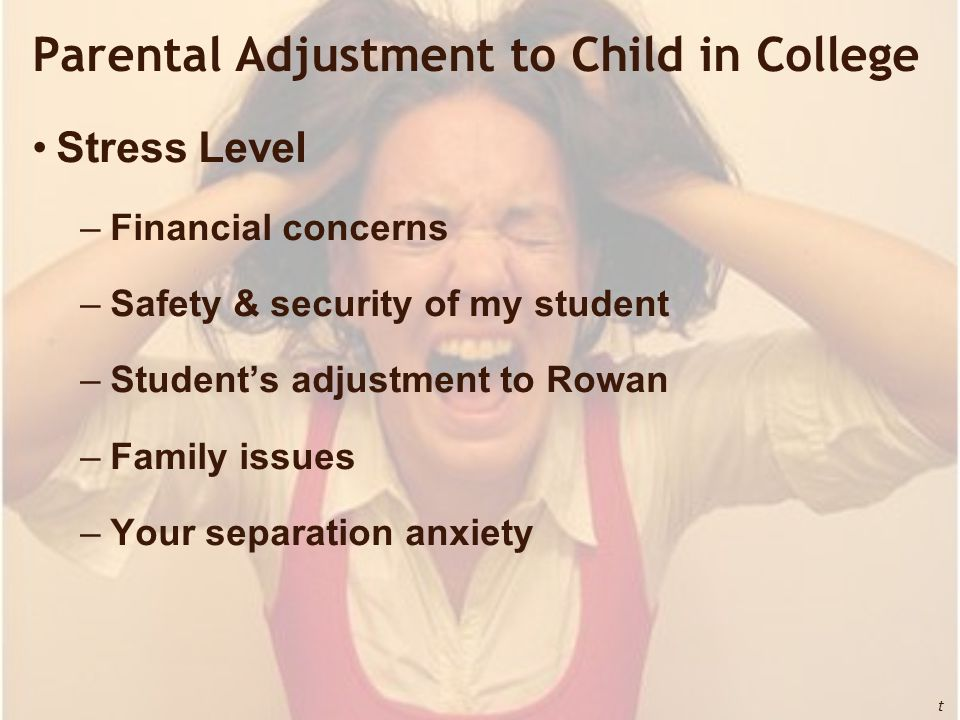 Parental Adjustment to Child in College Stress Level –Financial concerns –Safety & security of my student –Student's adjustment to Rowan –Family issues –Your separation anxiety t