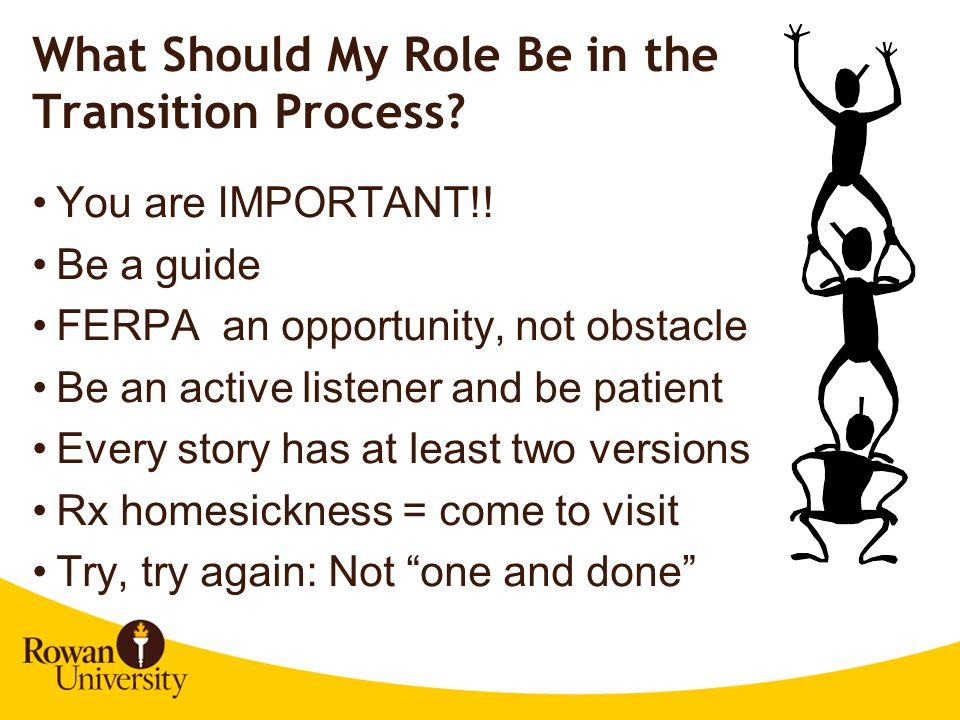 What Should My Role Be in the Transition Process.You are IMPORTANT!.