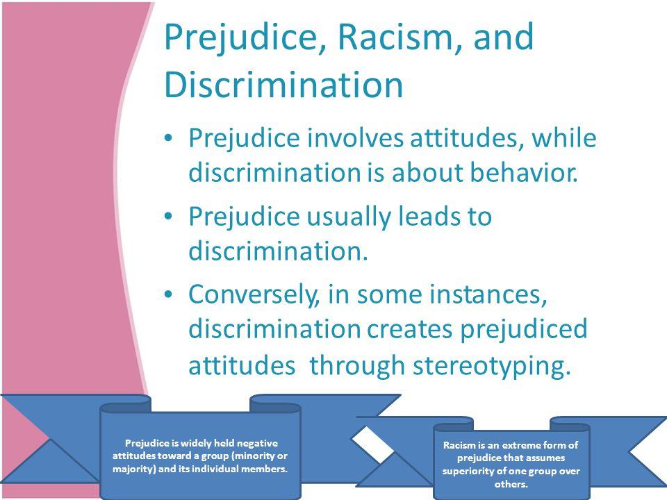 Prejudice, Racism, and Discrimination Prejudice involves attitudes, while discrimination is about behavior. Prejudice usually leads to discrimination.