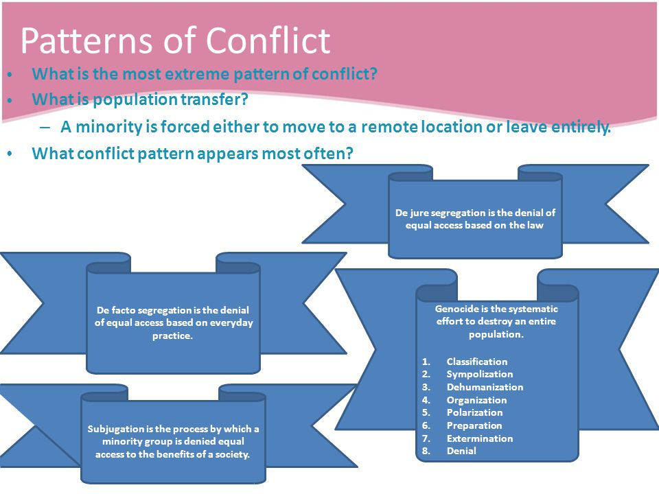 Patterns of Conflict What is the most extreme pattern of conflict.
