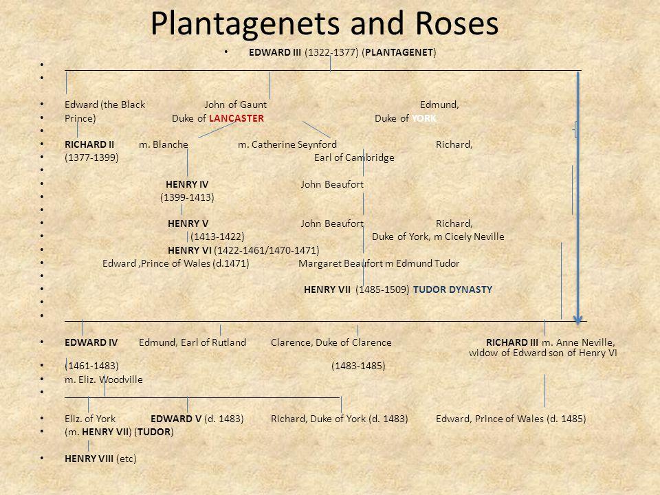 Plantagenets and Roses EDWARD III (1322-1377) (PLANTAGENET) ______________________________________________________________________________________________ Edward (the Black John of Gaunt Edmund, Prince) Duke of LANCASTER Duke of YORK RICHARD IIm.